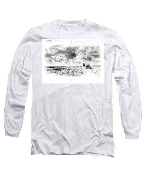 Long Sleeve T-Shirt featuring the drawing Bleak Chapel by Paul Davenport