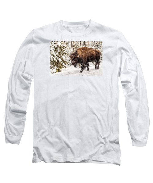 Long Sleeve T-Shirt featuring the photograph Scary Bison by Sue Smith