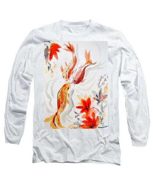 Long Sleeve T-Shirt featuring the painting School by Beverley Harper Tinsley