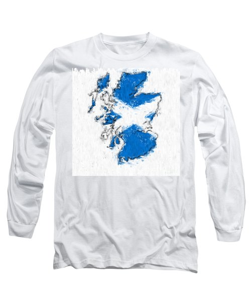 Scotland Painted Flag Map Long Sleeve T-Shirt by Antony McAulay