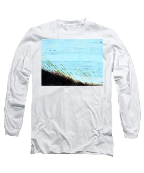 Long Sleeve T-Shirt featuring the drawing Sea Oats In The Wind Drawing by D Hackett