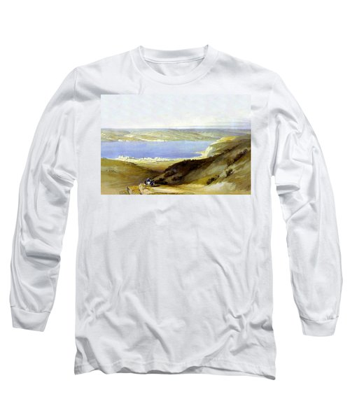 Sea Of Galilee Long Sleeve T-Shirt by Munir Alawi