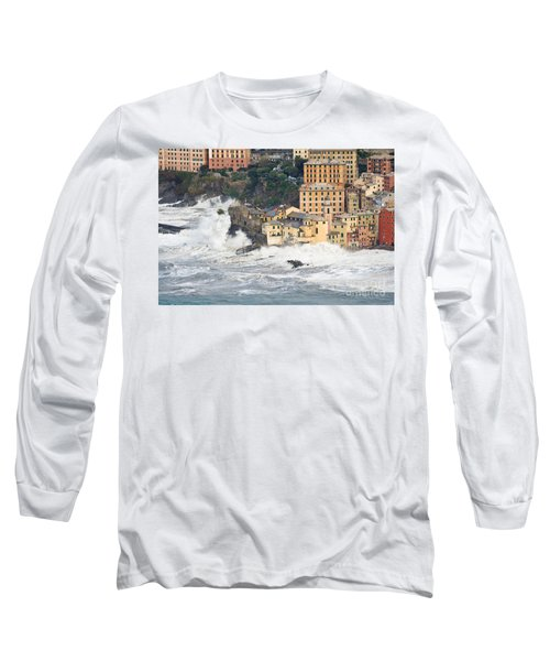 Long Sleeve T-Shirt featuring the photograph Sea Storm In Camogli - Italy by Antonio Scarpi