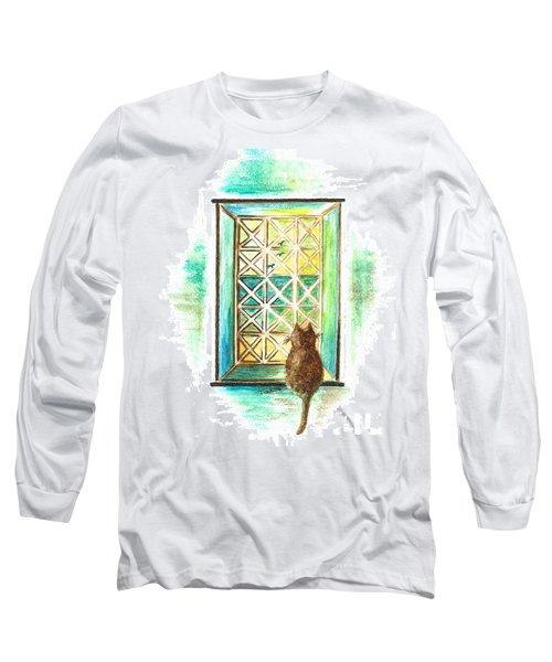 Curiosity - Cat Long Sleeve T-Shirt by Teresa White