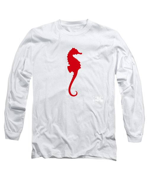 Seahorse In Red Long Sleeve T-Shirt