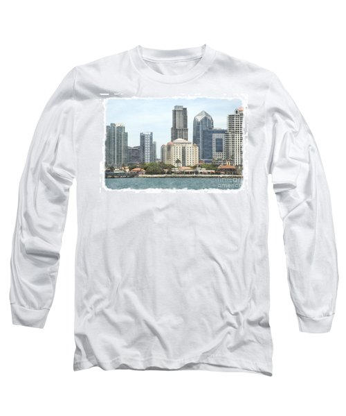 Seaport Village And Downtown San Diego Watercolor Long Sleeve T-Shirt