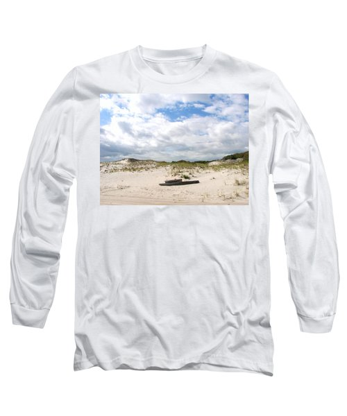 Long Sleeve T-Shirt featuring the photograph Seaside Driftwood And Dunes by Pamela Hyde Wilson