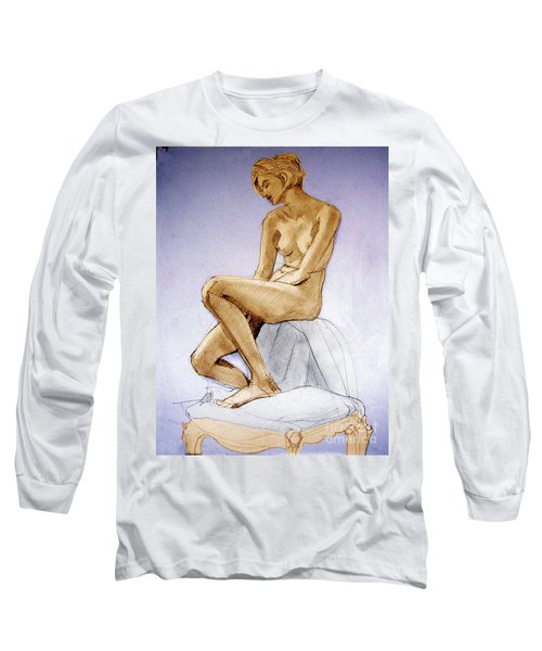 Seated Female Nude Dreaming Long Sleeve T-Shirt by Greta Corens