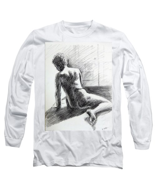 Seated Male Back Long Sleeve T-Shirt