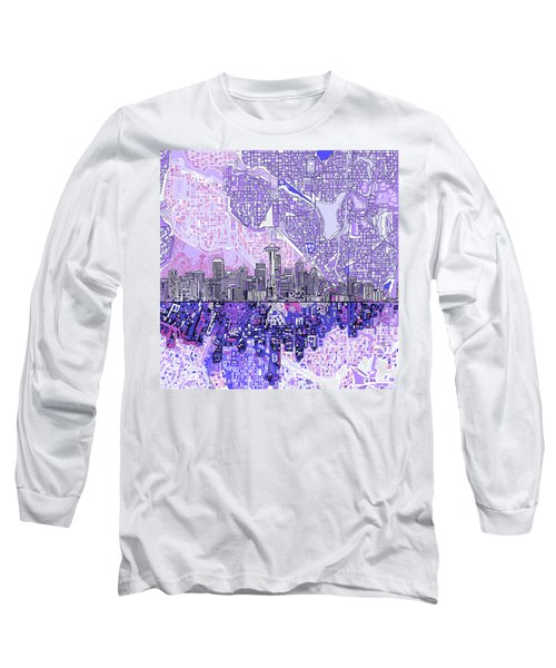 Seattle Skyline Abstract 3 Long Sleeve T-Shirt