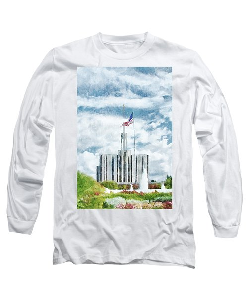 Long Sleeve T-Shirt featuring the painting Seattle Temple 1 by Greg Collins