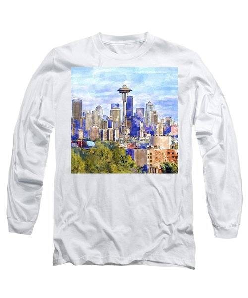 Seattle View In Watercolor Long Sleeve T-Shirt