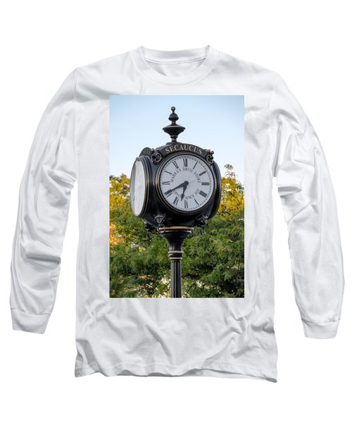 Long Sleeve T-Shirt featuring the photograph Secaucus Clock Marras Drugs by Susan Candelario