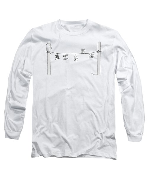 Several Pairs Of Shoes Dangle Over An Electrical Long Sleeve T-Shirt