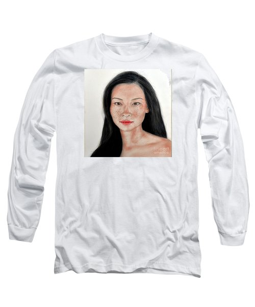 Long Sleeve T-Shirt featuring the drawing Sexy Freckle Faced Beauty Lucy Liu by Jim Fitzpatrick