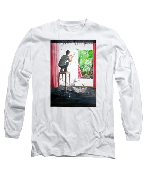 Shaping The Peace Listen With Music Of The Description Box Long Sleeve T-Shirt by Lazaro Hurtado