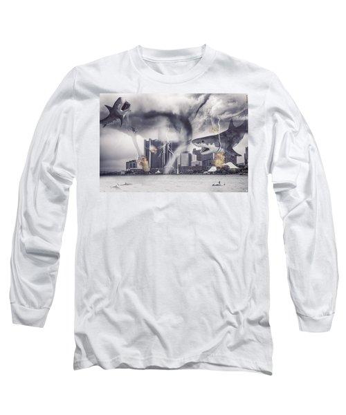 Long Sleeve T-Shirt featuring the photograph Sharknado Detroit by Nicholas  Grunas