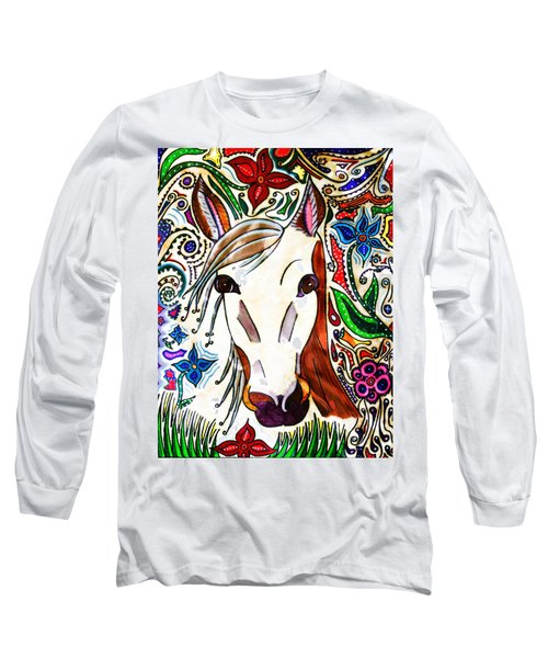 She Grazes Where Flowers Grow - Horse Long Sleeve T-Shirt