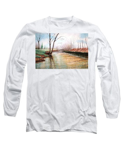 Long Sleeve T-Shirt featuring the pastel Shelby Stream by Stacy C Bottoms