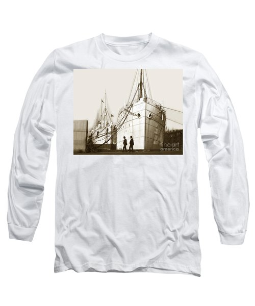 Long Sleeve T-Shirt featuring the photograph Steam Ships San Francisco California   Circa 1900 Historical Photo by California Views Mr Pat Hathaway Archives