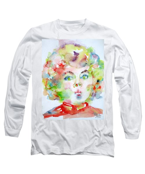 Shirley Temple - Watercolor Portrait.2 Long Sleeve T-Shirt by Fabrizio Cassetta