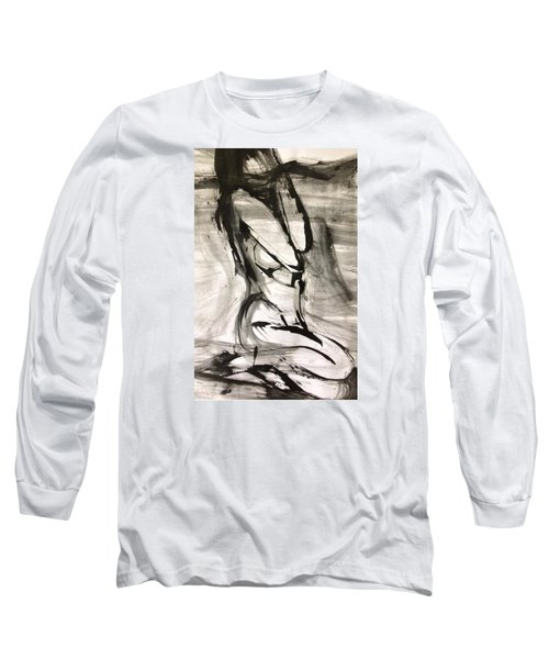 Long Sleeve T-Shirt featuring the drawing Shy by Helen Syron