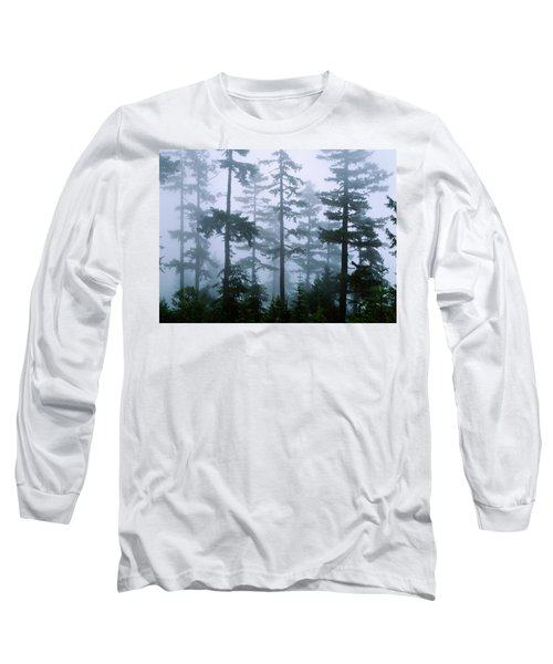 Silhouette Of Trees With Fog Long Sleeve T-Shirt