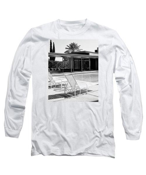 Sinatra Pool Bw Palm Springs Long Sleeve T-Shirt by William Dey