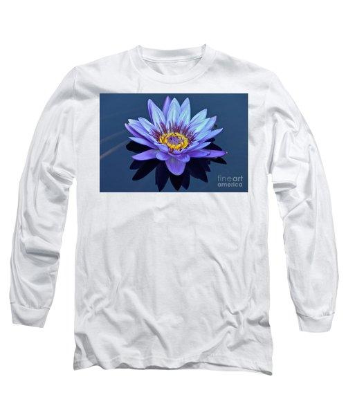 Single Lavender Water Lily Long Sleeve T-Shirt by Byron Varvarigos