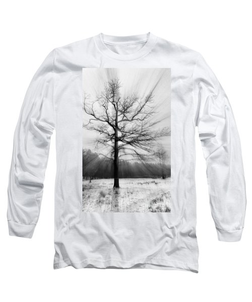 Single Leafless Tree In Winter Forest Long Sleeve T-Shirt