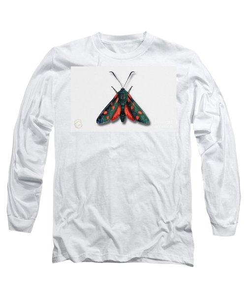 Six Spot Burnet Butterfly - Zygaena Filipendulae Naturalistic Painting - Nettersheim Eifel Long Sleeve T-Shirt