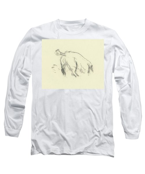 Sketch Of A Dog Digging A Hole Long Sleeve T-Shirt