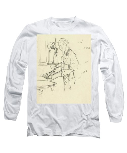 Sketch Of Waiter Pouring Wine Long Sleeve T-Shirt