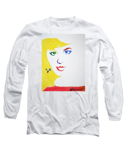 Long Sleeve T-Shirt featuring the painting Blonde Mother Nature by Stormm Bradshaw