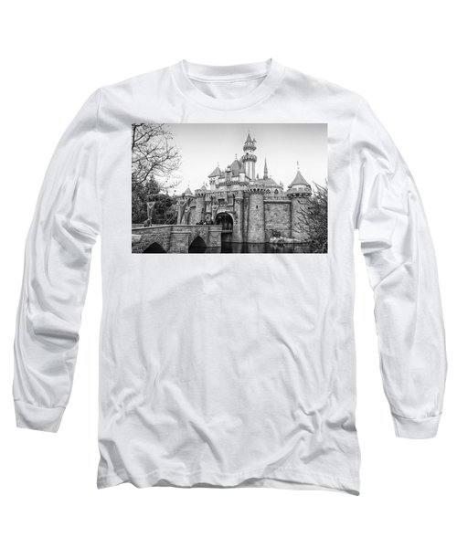 Sleeping Beauty Castle Disneyland Side View Bw Long Sleeve T-Shirt by Thomas Woolworth