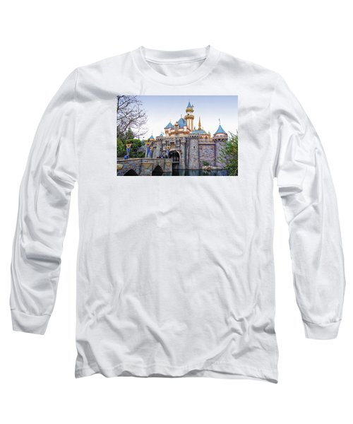 Sleeping Beauty Castle Disneyland Side View Long Sleeve T-Shirt by Thomas Woolworth