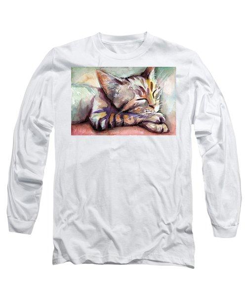 Sleeping Kitten Long Sleeve T-Shirt by Olga Shvartsur