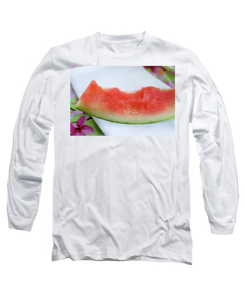 Slice Of Watermelon With Bites Taken On Fabric Napkin Long Sleeve T-Shirt