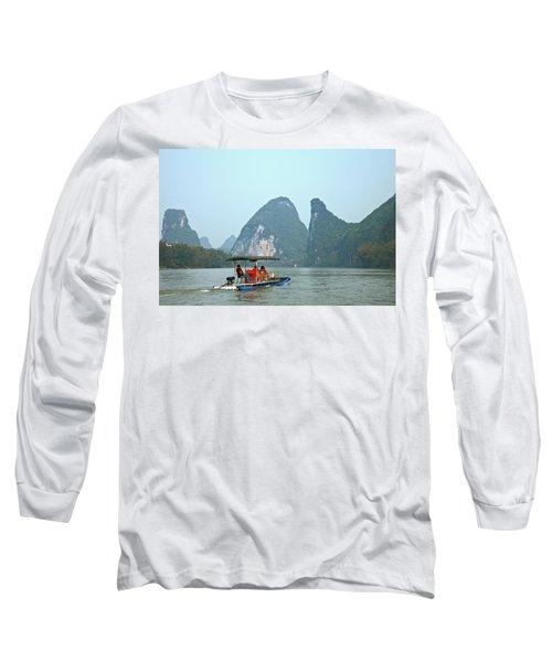 Small Tourboat On Li River, Yangshuo Long Sleeve T-Shirt