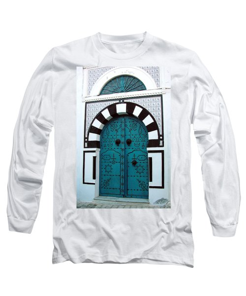 Smiling Moon Door Long Sleeve T-Shirt by Donna Corless