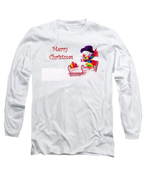 Long Sleeve T-Shirt featuring the photograph Snowman Riding In A Red Sleigh - Christmas  by Vizual Studio
