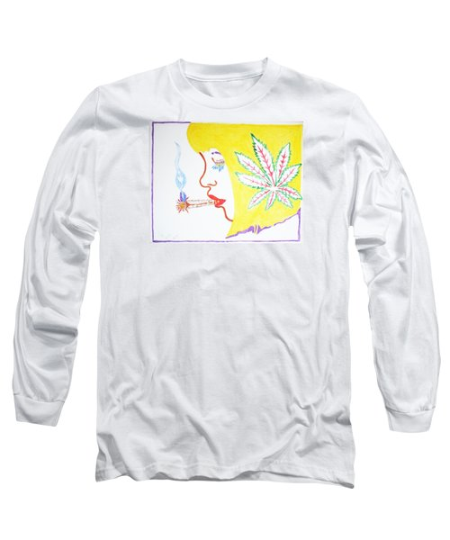 Long Sleeve T-Shirt featuring the painting Smoking Blonde by Stormm Bradshaw