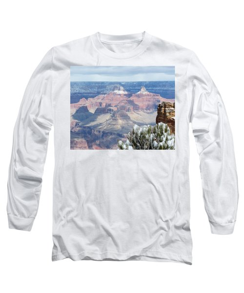 Snow At The Grand Canyon Long Sleeve T-Shirt by Laurel Powell