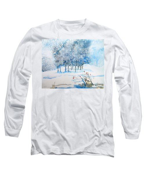 Snow Blizzard In The Grove  Long Sleeve T-Shirt by Trudi Doyle