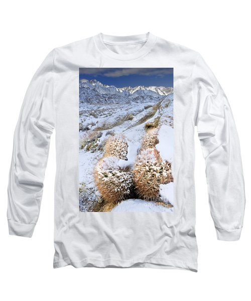 Long Sleeve T-Shirt featuring the photograph Snow Covered Cactus Below Mount Whitney Eastern Sierras by Dave Welling