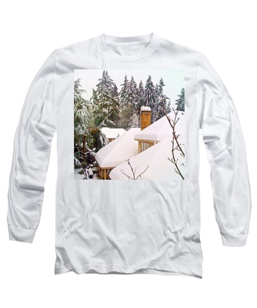 Snow Covered Rooftops - Winter In Lake Oswego Or Long Sleeve T-Shirt