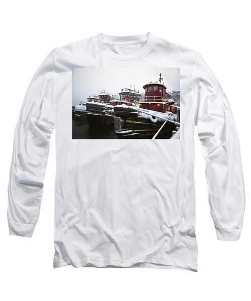 Snow Covered Tugboats Long Sleeve T-Shirt