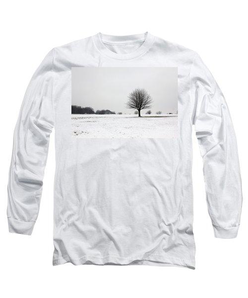 Snow On Epsom Downs Surrey England Uk Long Sleeve T-Shirt