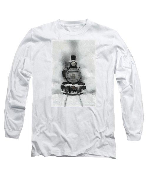 Snow Train Long Sleeve T-Shirt by Dragica  Micki Fortuna