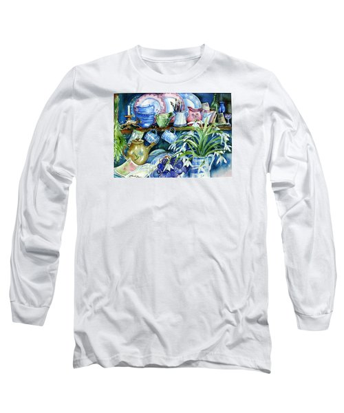 Snowdrops On A Kitchen Dresser Long Sleeve T-Shirt by Trudi Doyle